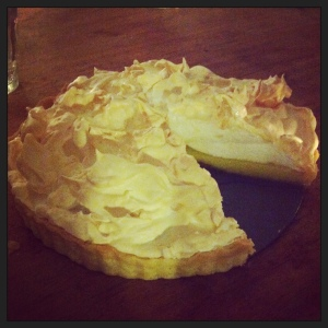 My lemon meringue pie (the meringue isn't quite tow inches high, like Mildred's, though)