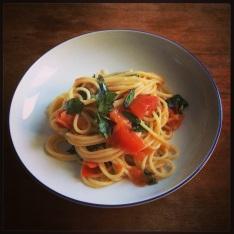 spaghetti with lots of oregano